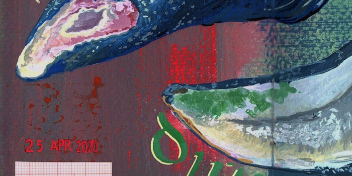 Detail Of Painted Journal Page With Mussel Shells And Printed Date